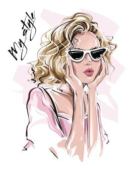 Beautiful blond hair girl in sunglasses