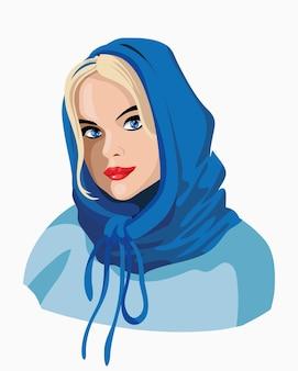スカーフと美しい金髪のかわいい女性