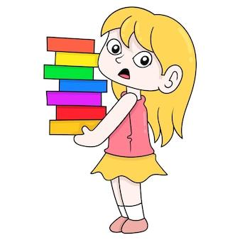 Красивая белокурая девушка, несущая стопки книг, приветствуя обратно в школу, векторные иллюстрации искусство. каракули изображение значка каваи.