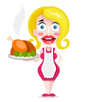 Beautiful blonde housewife with fried duck, vector illustration.