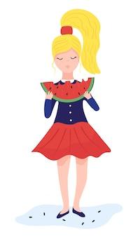 Красивая белокурая женщина ест кусок большой концепции и иллюстрации арбуза на белой предпосылке. женский персонаж ест сладкий красный арбуз.