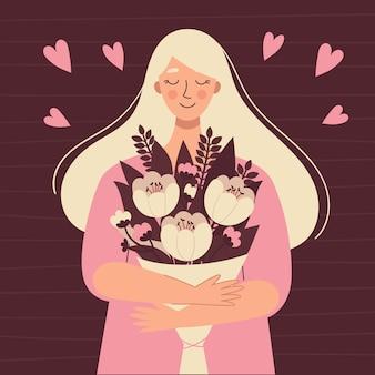 Красивая белокурая женщина с букетом цветов. международный женский день, поздравительная открытка, день матери. иллюстрация в плоском стиле