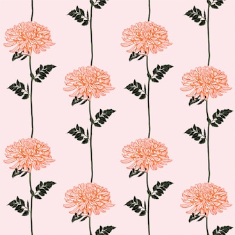 Beautiful blooming chrysanthemum line striped seamless pattern.