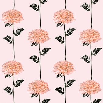 美しい咲く菊ラインストライプシームレスパターン。