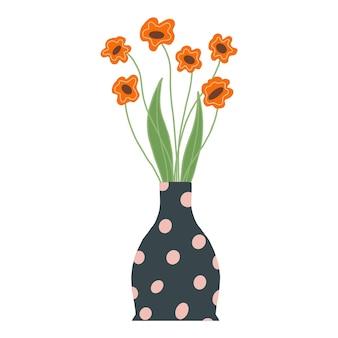 잎과 줄기가 흰색으로 분리된 아름다운 개화 구성. 꽃 식물과 허브입니다. 꽃병 평면 벡터 일러스트 레이 션에 장식 가지와 꽃의 화려한 꽃다발.