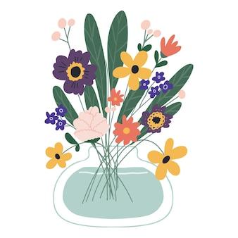 잎과 줄기가 흰색으로 분리된 아름다운 개화 구성. 꽃이 만발한 식물과 허브.