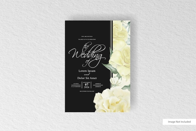 Beautiful blooming floral frame wedding invitation card template