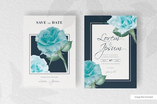 아름 다운 피 꽃 프레임 결혼식 초대 카드 서식 파일