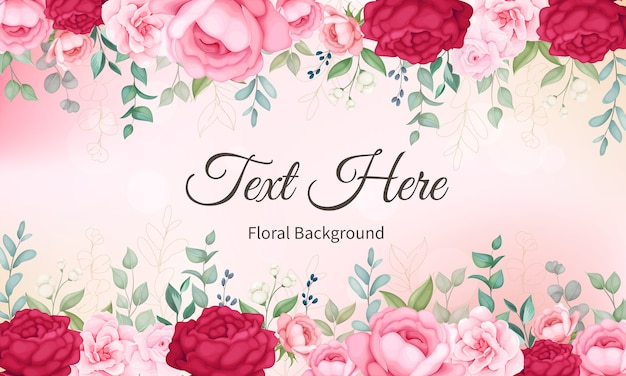 Beautiful blooming floral and leaves background