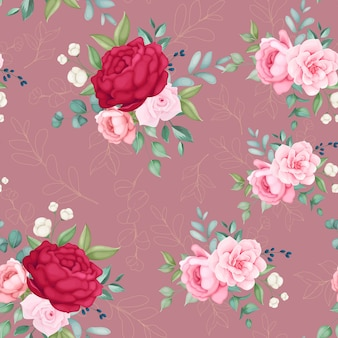 Beautiful blooming floral and leaves seamless pattern