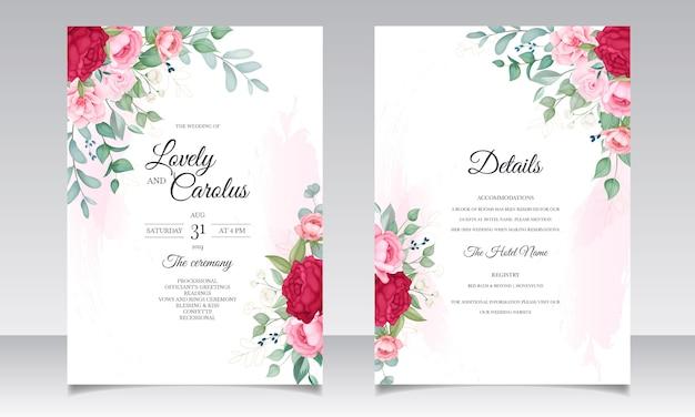 아름 다운 피 꽃 결혼식 초대 카드 세트