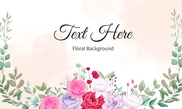 Beautiful blooming flower and leaves background