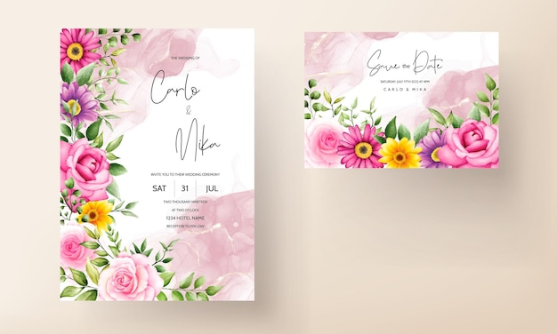 Beautiful blooming flower watercolor wedding invitation card