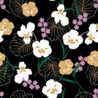 아름다운 꽃이 피는 팬지 꽃과 식물은 매끄러운 패턴 벡터 eps10, 패션, 직물, 섬유, 벽지, 커버, 웹, 포장 및 모든 인쇄를 검정색으로 디자인합니다.