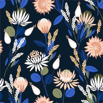 Beautiful blooming protea flowers in the garden full of botanical plants seamless pattern in vector design for fashion, wallpaper, wrapping and all prints