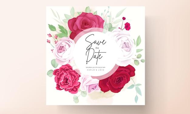 美しい咲くバラと牡丹の花の結婚式の招待カード