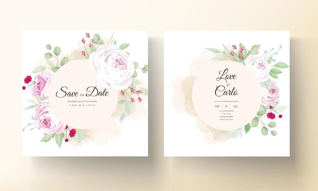 Bella carta di invito a nozze fiore di rosa e peonia in fiore