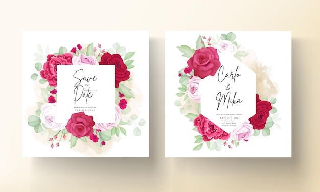 Beautiful blooming rose and peony flower wedding invitation card