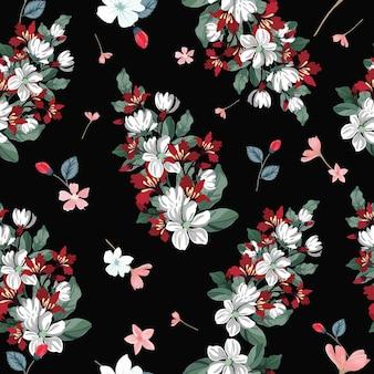 Beautiful blossom on black background seamless pattern.