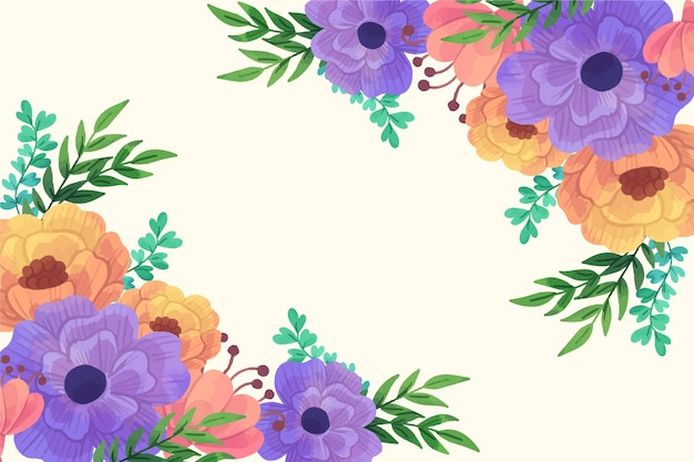 Beautiful blossom orange and violet flowers spring background