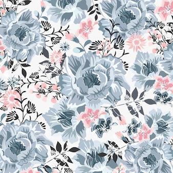 美しい青とピンクの花模様。
