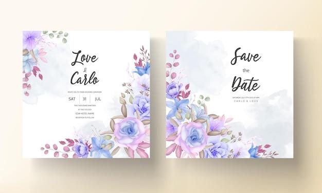 美しい青と紫の花と葉の結婚式の招待カードのデザイン