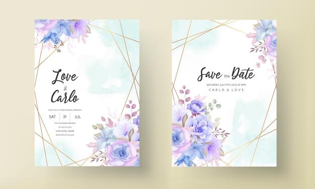 Красивый синий и фиолетовый цветочный и листья дизайн свадебного приглашения