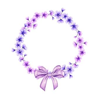 ギフトの弓と美しい青と紫の花のフレーム