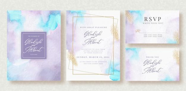 ウェディングカードテンプレートに美しい青と紫のスプラッシュ水彩画