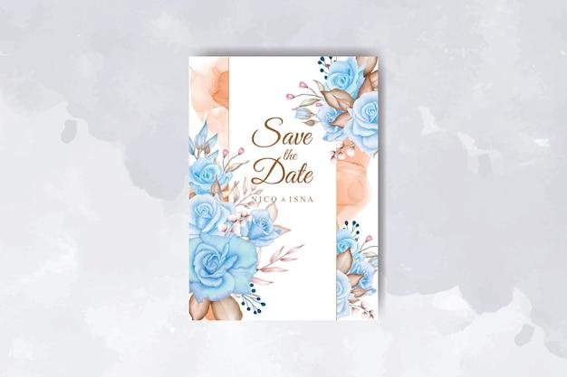 아름다운 파란색과 부드러운 분홍색 장미 수채화 청첩장