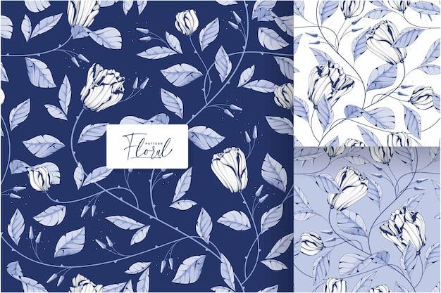 美しい青と白の花柄