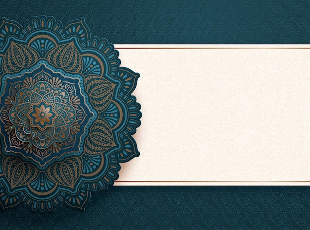 Beautiful blue arabesque pattern background with copy space