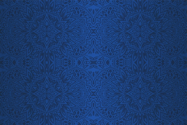 Beautiful blue art with abstract seamless pattern