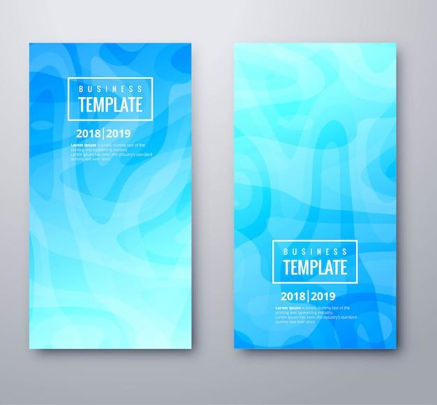 Красивые синие баннеры набор шаблонов дизайн