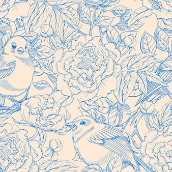 Beautiful blue and beige retro seamless pattern with birds and blooming peonies