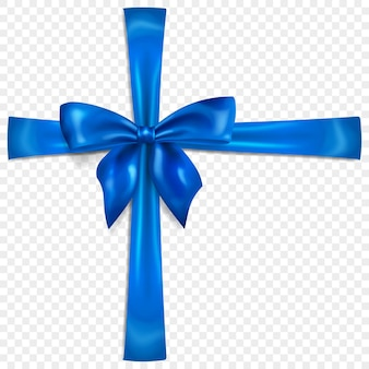 Beautiful blue bow with crosswise ribbons with shadow, isolated on transparent background. transparency only in vector format
