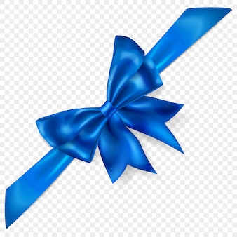 Beautiful blue bow with diagonally ribbon with shadow, isolated on transparent background. transparency only in vector format