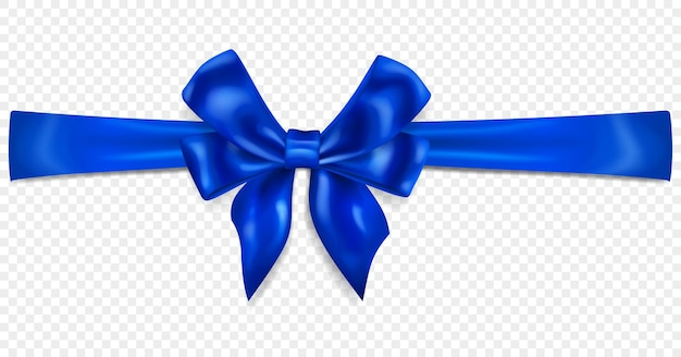Beautiful blue bow with horizontal ribbon with shadow, isolated on transparent background. transparency only in vector format