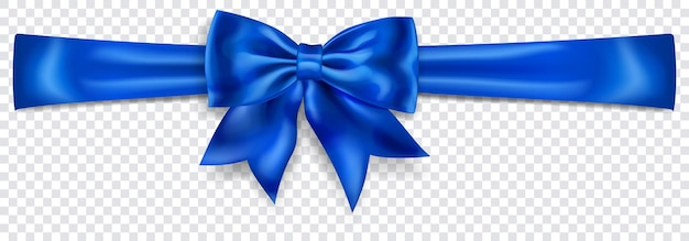 Beautiful blue bow with horizontal ribbon with shadow on transparent background. transparency only in vector format