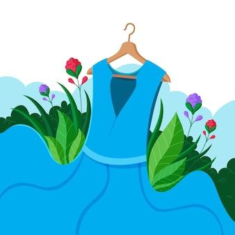 美しい青いドレス持続可能なファッションコンセプト