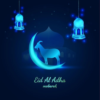 Beautiful blue festive islamic eid al adha banner with moon and goat