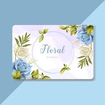 아름다운 푸른 꽃 배경 템플릿