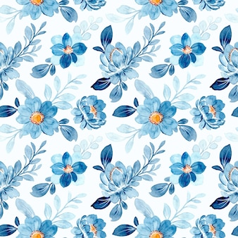 Beautiful blue floral watercolor seamless pattern