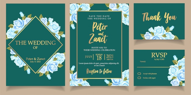 Beautiful blue flower invitation wedding card template set with thanks card Premium Vector