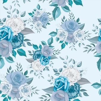 美しい青い花のシームレスなパターン