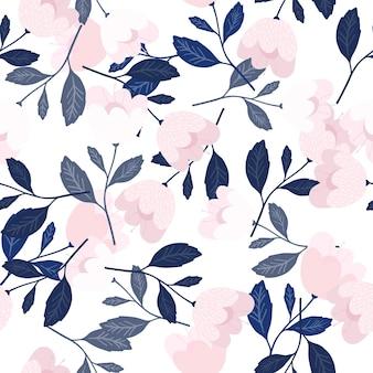 美しい青い花のシームレスなパターン。植物学のテクスチャ。かわいい花の壁紙。装飾的な飾り。ファブリック、テキスタイルプリント、ラッピング、カバーのヴィンテージロマンチックでエレガントなデザイン。ベクトルイラスト。