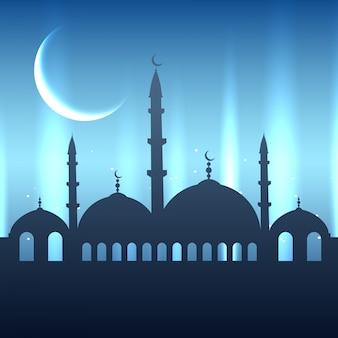 Beautiful blue glowing eid festival