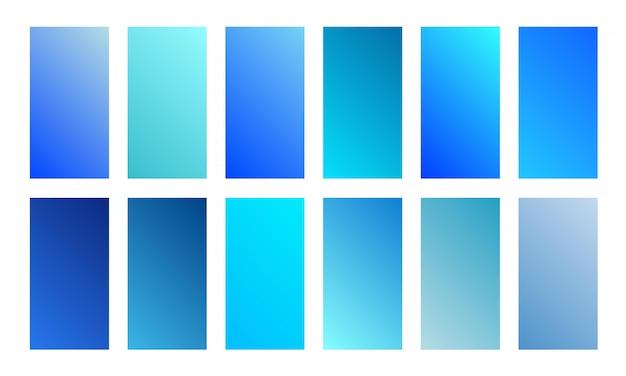 Коллекция красивых синий градиент. мягкий и яркий набор гладких цветов. дизайн экрана для мобильного приложения
