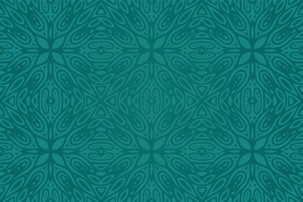 抽象的なカラフルなシームレスパターンと美しい青緑の背景
