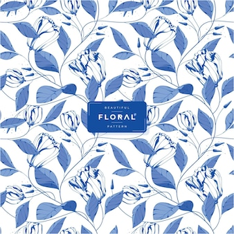 Beautiful blue ink floral pattern